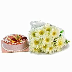 Ten White Gerberas with Strawberry Cake for Alappuzha