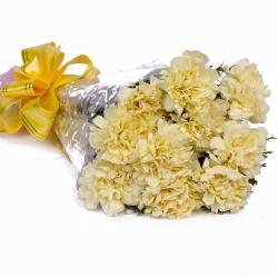 Ten Yellow Carnations in Cellephane Packing for Madras
