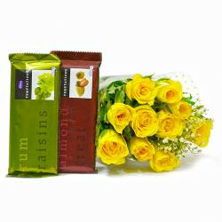 Ten Yellow Roses Bunch with Bars of Cadbury Temptation Chocolate for Alappuzha