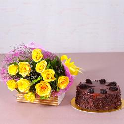 Ten Yellow Roses with Half Kg Choco Chips Chocolate Cake for Agra