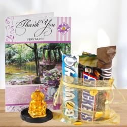 Thank You Card and Tiny Laughing Buddha with 5 Imported Assorted Chocolates for Bharuch