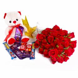 Thirty Red Roses Bunch and Cute Teddy Bear with Mix Cadbury Chocolates for Lucknow