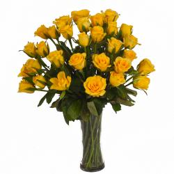 Thirty Yellow Roses in Glass Vase for Kapurthala