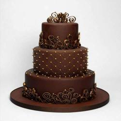 Three Tier Chocolate Fresh Cream Cake for Delhi