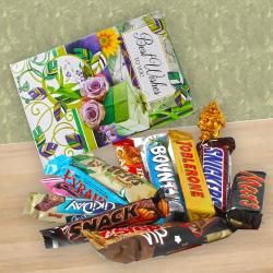 Tiny Laughing Buddha and Best wishes Card with Imported Assorted Chocolates. for Hyderabad
