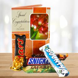 Tiny Laughing Buddha and Congratulations Card with 5 Imported Chocolates for Shimla