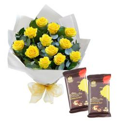 Tissue Paper Wrapped Roses with Bournville Chocolate for Ahmedabad
