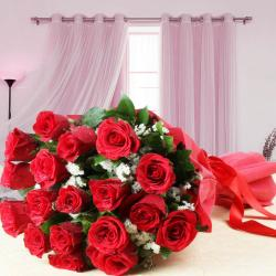 Tissue Wrapped Eighteen Red Roses Bouquet for Chennai