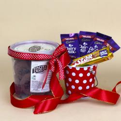 Tosita Chocolate Cookies and Assorted Chocolates in a Basket for Delhi