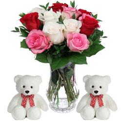 Trio color Roses vase with 2 Teddies for North Goa
