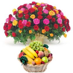 Tropical Fruit Basket with 100 Roses for Chandigarh