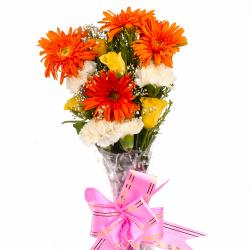Twelve Colorful Assorted Flowers Bouquet for Gurgaon