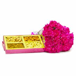Twelve Pink Carnations Bunch with Assorted Dry Fruits for Vasco Da Gama