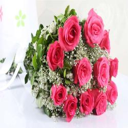 Twelve Pink Roses Bouquet for Lucknow