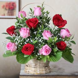 Twelve Red and Pink in a Basket for Kolkata