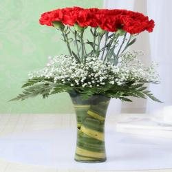 Twelve Red Carnation in Glass Vase for Rajahmundry
