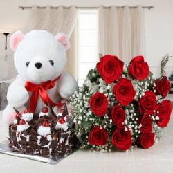 Twelve Red Roses and Black Forest Cake with Teddy for Kanchipuram