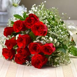 Twelve Red Roses Hand Bunch for your Valentine for Noida