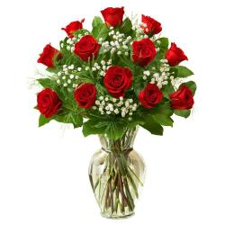 Twelve Red Roses In Glass Vase for Coimbatore