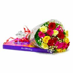 Twenty Assorted Rose Bouquet with Cadbury Celebration Chocolate Box for Pune