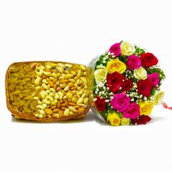 Twenty Colorful Roses with Mix Dry Fruit in a Basket for Cuttack