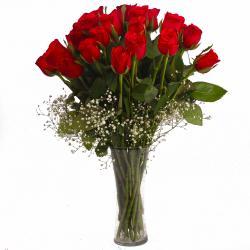 Twenty Five Fresh Red Roses in Vase for Baroda