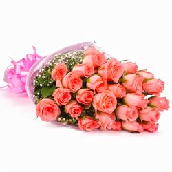 Twenty Five Pink Roses Tissue Wrapped for Bharuch