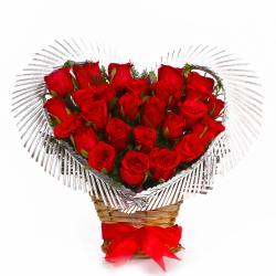Twenty Five Red Roses in Heart Shape Arrangement for Dewas