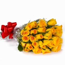 Twenty Five Yellow Roses Hand Tied Bunch