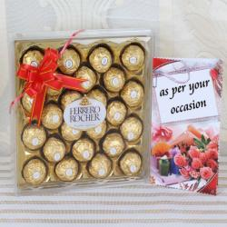 Twenty Four Pcs Ferrero Rocher Chocolates Box Hand Delivery for Gandhinagar