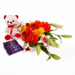 Twenty Mix Flowers and Teddy with Five Bars of Cadbury Dairy Milk Chocolate for Chandigarh