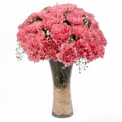 Twenty Pink Carnations in Glass Vase