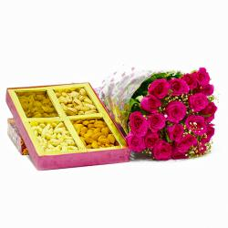 Twenty Pink Roses Bouquet with Mix Dry fruits Box for Rajahmundry