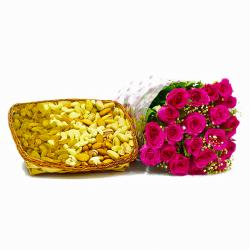 Twenty Pink Roses with 2 Kg Assorted Dry Fruit in a Basket for Hyderabad