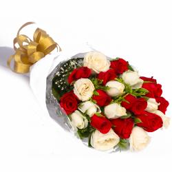 Twenty Red and White Roses Bouquet for Kakinada