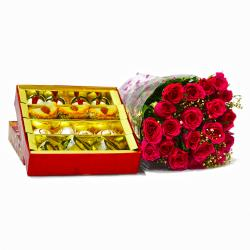 Twenty Romantic Red Roses with Box of 1 Kg Assorted Sweet for Gurgaon