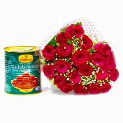 Twenty Romantic Red Roses with Tempting Gulab Jamuns for Manipal