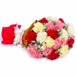Twenty Two Multi Color Carnations Tissue Packing for Chennai