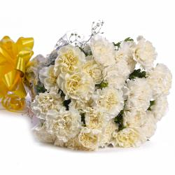 Twenty Two White Carnations Bouquet for Bharuch
