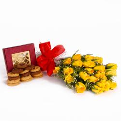 Twenty Yellow Roses Bunch with Tasty Baked Cookies for Chennai