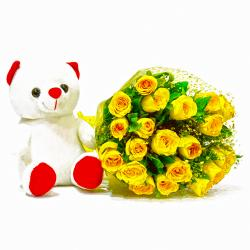 Twenty Yellow Roses with Cute Teddy Bear for Indore