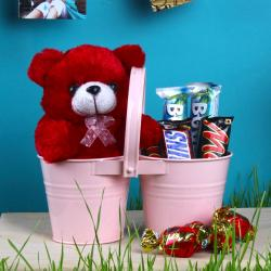 Twin Love Basket of Teddy and Imported Chocolates for Ahmedabad