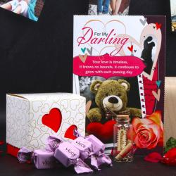 Valentine Gift of Message Bottle and Vigos Toffee with Love Card for Pune