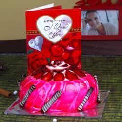 Valentine Strawberry Cake with Love Card for Raichur