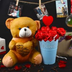 Valentines Gift of Chocolaty Roses Bouquet with Teddy Bear for Bhopal