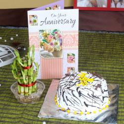 Vanilla Cake and Good Luck Plant with Anniversary Card for Bankura