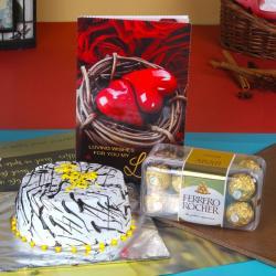 Vanilla Cake with Card and Ferrero Chocolates For Valentine Gift for Gandhinagar