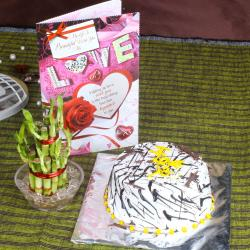 Vanilla Cake with Goodluck Plant and Love Greeting Card for Raichur