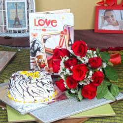 Vanilla Cake with Roses Bouquet and Love Greeting Card for Ahmedabad