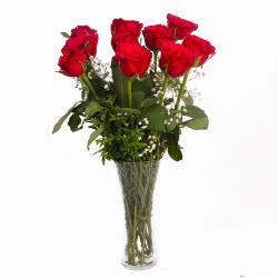 Vase of 10 Romantic Red Roses for Ghaziabad